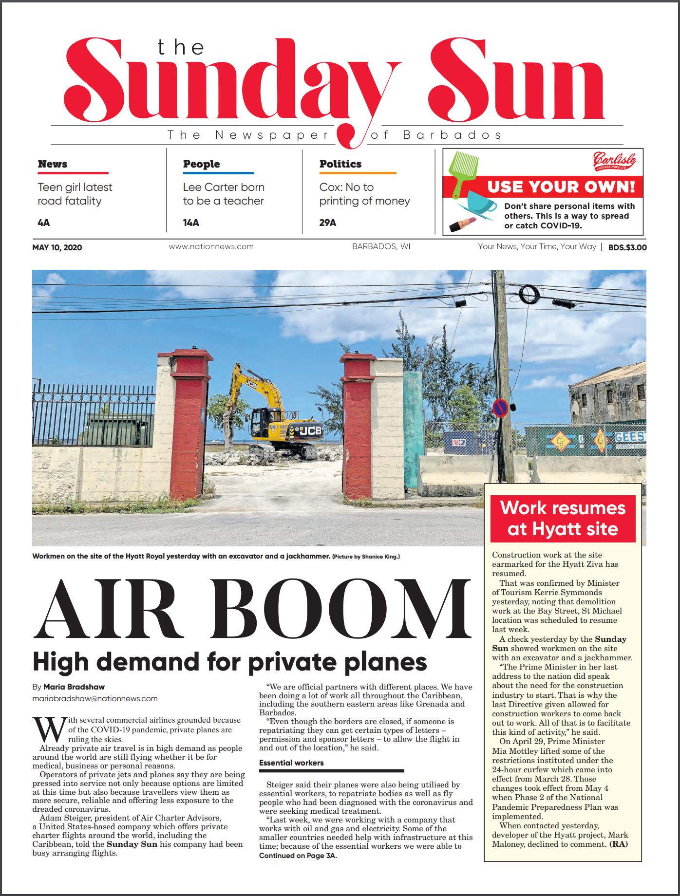 barbados sun article